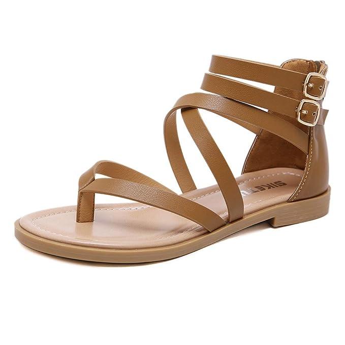 Sandali da Donna Etnico Greco con Frange Legare con Eleganti Bassi Ragazze Casuale con Cinturino alla Caviglia con Lacci in Avvolgente Scarpe
