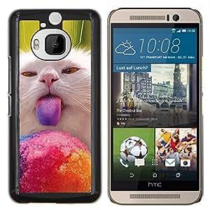 Caucho caso de Shell duro de la cubierta de accesorios de protecci¨®n BY RAYDREAMMM - HTC One M9Plus M9+ M9 Plus - Gatito Gato Lick Nebelung americana de pelo largo