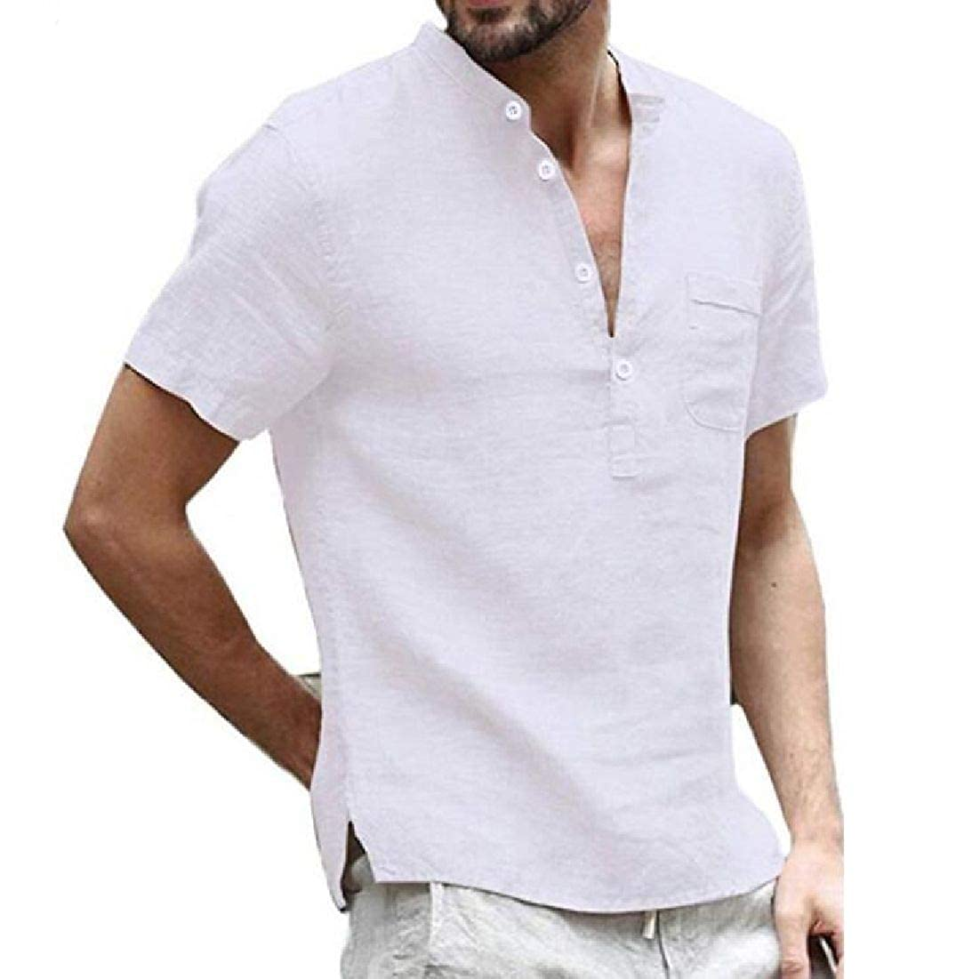 Domple Mens Stand Collar Short Sleeve Linen Solid Shirt Blouse Top