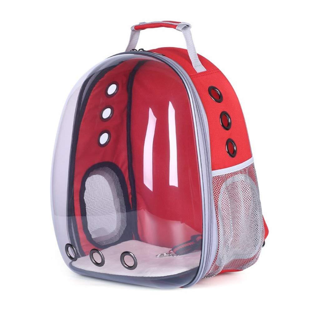 Red RedGoodThings Full Transparent Visual Pet Backpack Out Portable Breathable Shoulder Pet Supplies Cat Bag Dog Bag Pet Capsule (color   Red)