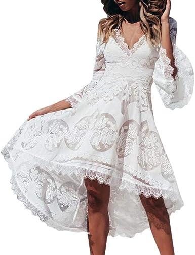 Vestiti Abiti Da Sposa.Feixiang Donna Abito Da Sposa Feste Sera Vintage Abiti Con Scollo