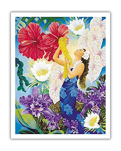- Pacifica Island Art A Lei Of Aloha - Hawaiian Hula Dancer - From an Original Color Painting by Warren Rapozo - Hawaiian Fine Art Print - 11in x 14in