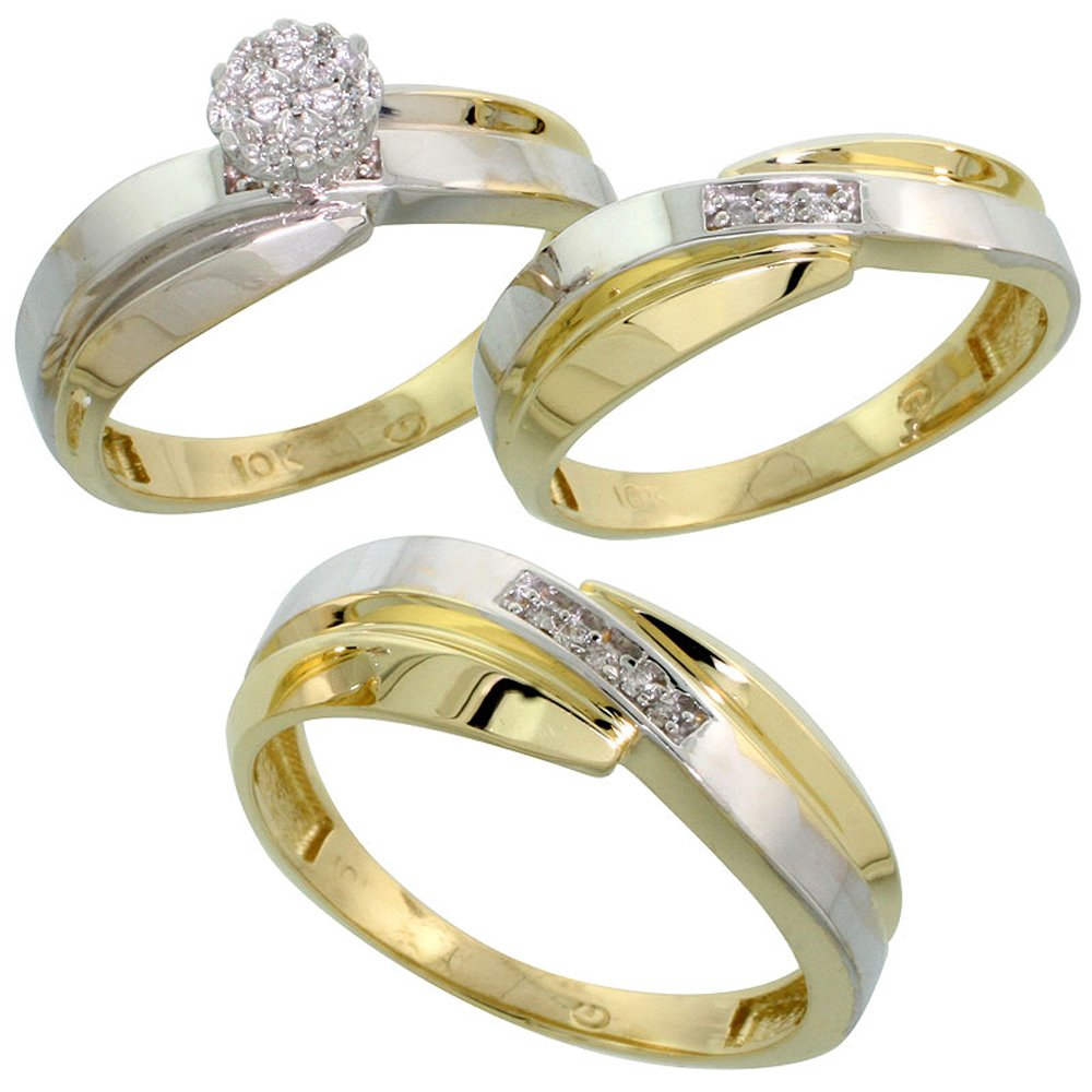 10k Yellow Gold Diamond Trio Engagement Wedding Ring Set for Him and Her 3-piece 7 mm & 6 mm wide 0.10 cttw Brilliant Cut, Ladies Size 9