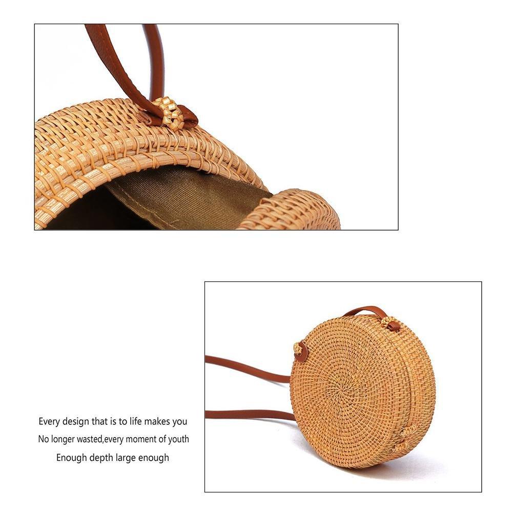 Petite plage sac /à bandouli/ère rotin Boh/ème fait main sac /à bandouli/ère rond r/étro tiss/é Paille circulaire sac /à main tress/é /à la mode sac de rangement m/énage organisateur