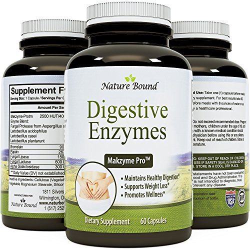 Pure Natural Digestive Enzymes for Women & Men – Protein + Carbohydrates – Stop Bloating & Flatulence With Protease Enzyme + Bromelain Supplements+Lactase Pills+Acidophilus By Biogreen Labs