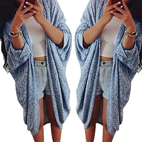 Gillberry Womens Lady Casual Knit Sleeve Sweater Coat Cardigan Jacket (XXL, Blue)
