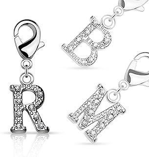 Bungsa® Buchstaben ANHÄNGER Silber mit Kristall - kleine Buchstaben Charms für Bettel-Armband, Halskette oder Ohrringe - für Damen, Kinder & Herren - A B C D E F G H I J K L M N O P R S T U V W Z
