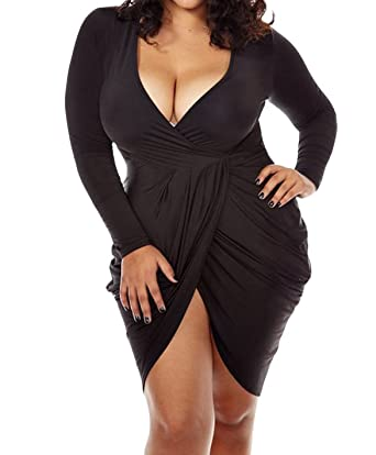 0b3557c7c494 POSESHE Womens Plus Size Deep V Neck Bodycon Wrap Dress with Front Slit L  Black