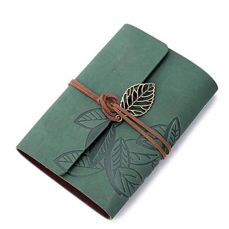 Amazon.com: Wensltd Vintage hoja verde cubierta de piel ...