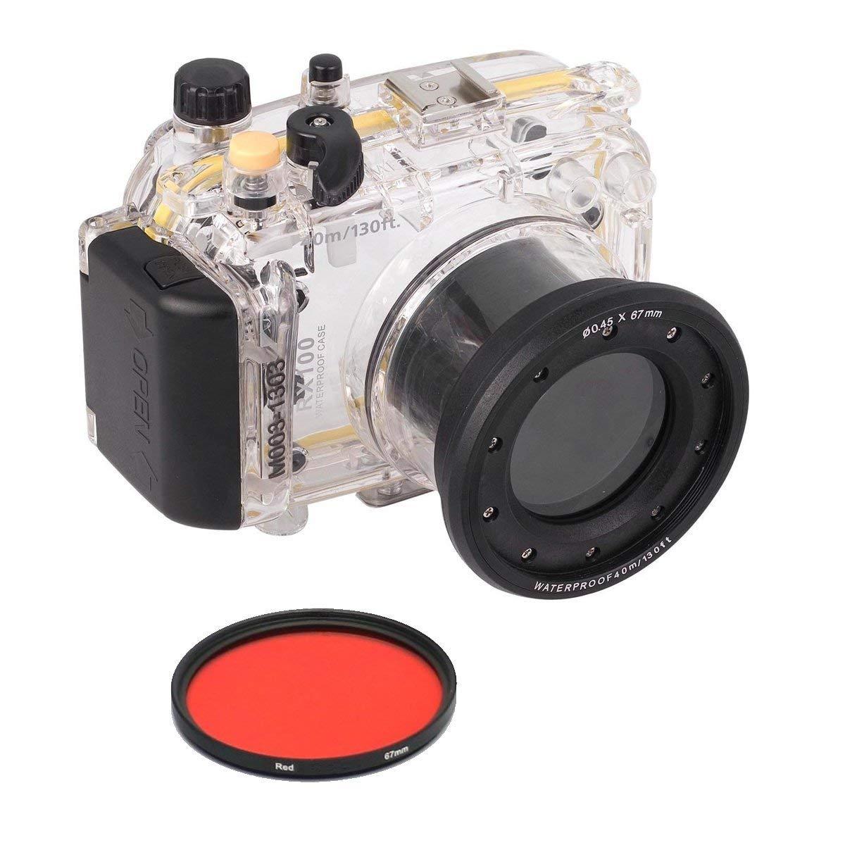 Meikon 40 m / 130ft防水水中ハウジングケースカバーバッグfor Sony DSC - rx100 with 67 mmレッドフィルタ   B00XLDEMGQ