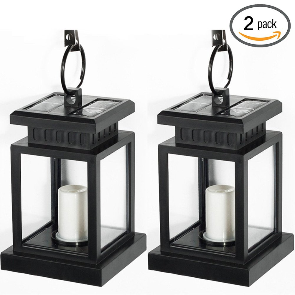 YINGHAO Vintage Waterproof Solar Powered Lantern, Hanging Umbrella Lantern Candle Lights Led with Clamp Beach Umbrella Tree Pavilion Garden Yard Lawn Etc. Lighting & Decoration (2 Pack)