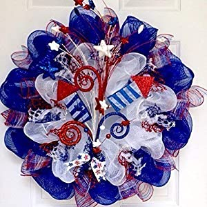 Sky Rockets In Flight Patriotic Handmade Deco Mesh Wreath 29