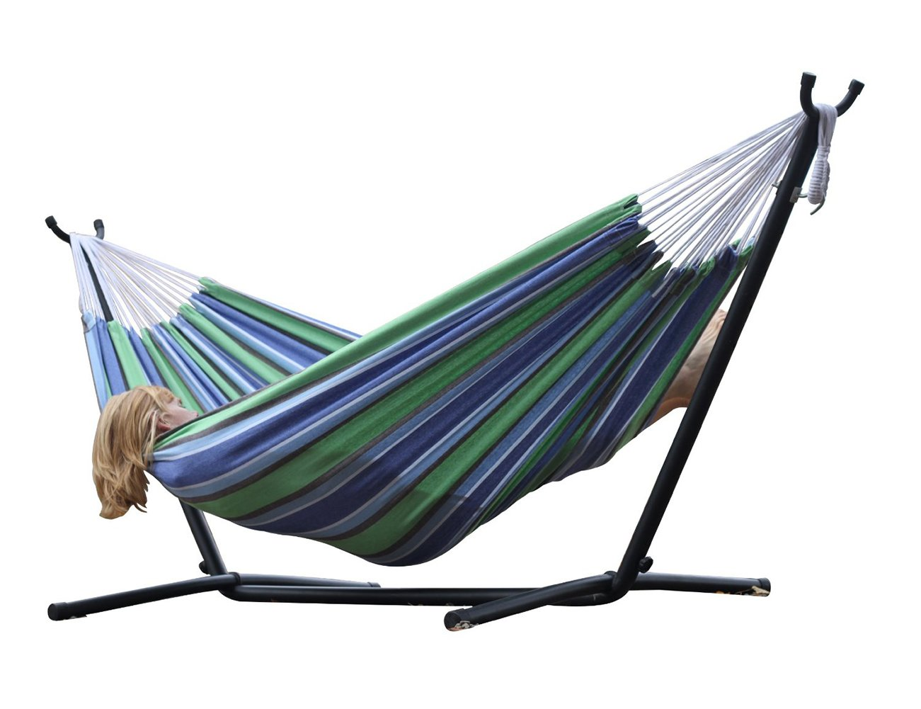 2PO Brazilian Style Double 100 Cotton Hammock with 9 Feet Space-Saving Steel Stand and Bonus Free Carrying Case