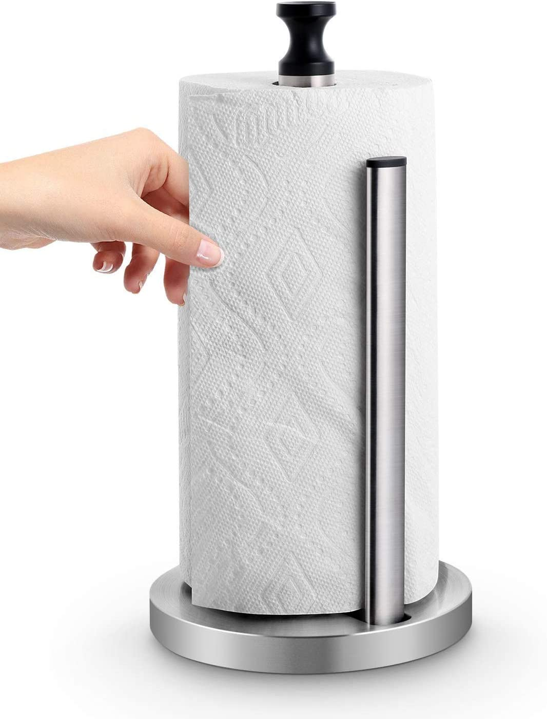 Homemaxs Paper Towel Holder Dispenser,One-Handed Tear Stainless Steel  Kitchen Paper Towel Dispenser with Weighted Unti-Skid Base and Spring  Active Arm