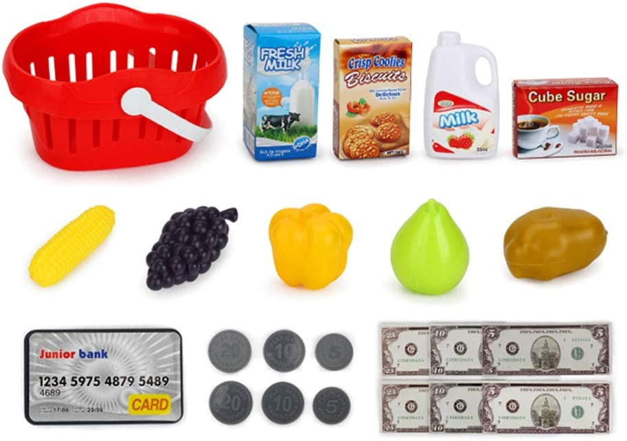 Pretend Play Restaurant//Grocery//Supermarket Cashier Toy Kids Cash Register Toy Playset Children Supermarket Checkout Toy with Lights Sounds Scanner Redit Card Reader and Groceries