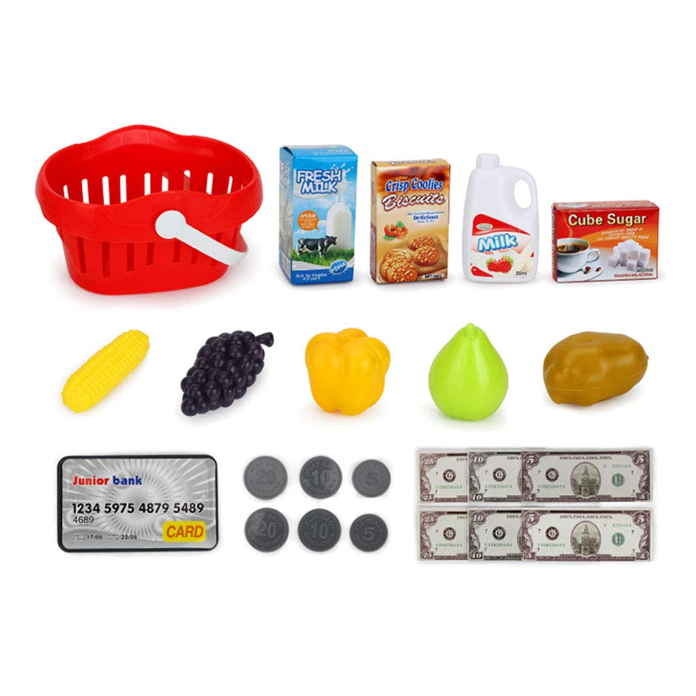 TiTa-Dong Kids Cash Register Toy Playset, Children Supermarket Checkout Toy with Lights Sounds Scanner Redit Card Reader and Groceries, Pretend Play Restaurant/Grocery/Supermarket Cashier Toy by TiTa-Dong (Image #6)