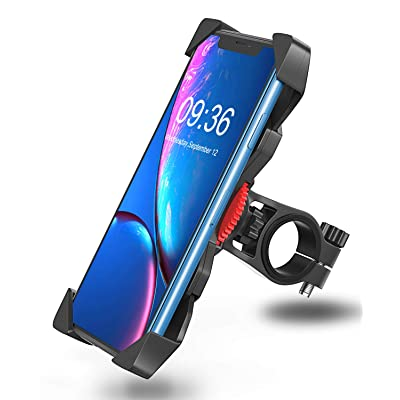 "Bovon Bike Phone Mount, Universal Adjustable Bicycle Motorcycle Phone Holder Cradle Clamp for iPhone X/XR/XS MAX/8/7/6 Plus, Samsung Galaxy S10/S10e/S9/S8 Plus and Most 3.5""-6.5"" Smart Phones"