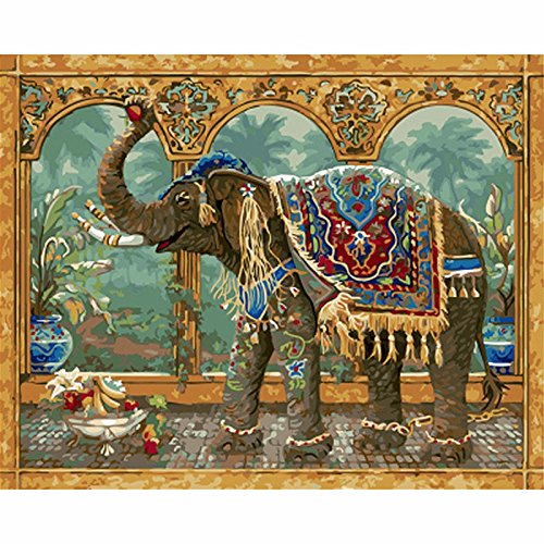 YANYANGXIN Diy Oil Paint by Number Kit,Digital Painting Suite,for Kids, Students, Adults Beginner with Brushes and Acrylic Pigment,Wall Art Artwork-Thai elephant,Frameless by YANYANGXIN