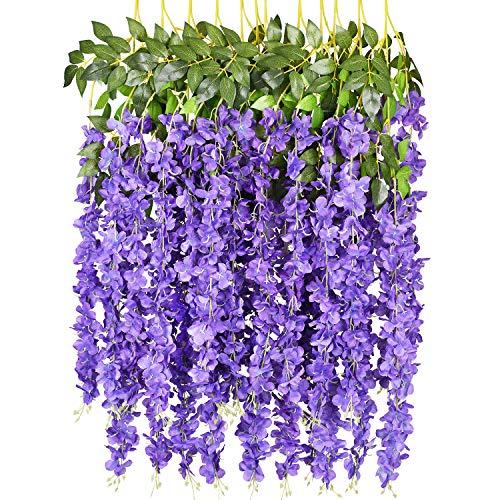 6 Pack 3.75 Feet/Piece Artificial Fake Wisteria Vine Ratta Hanging Garland Silk Flowers String Home Party Wedding Decor (Purple)]()