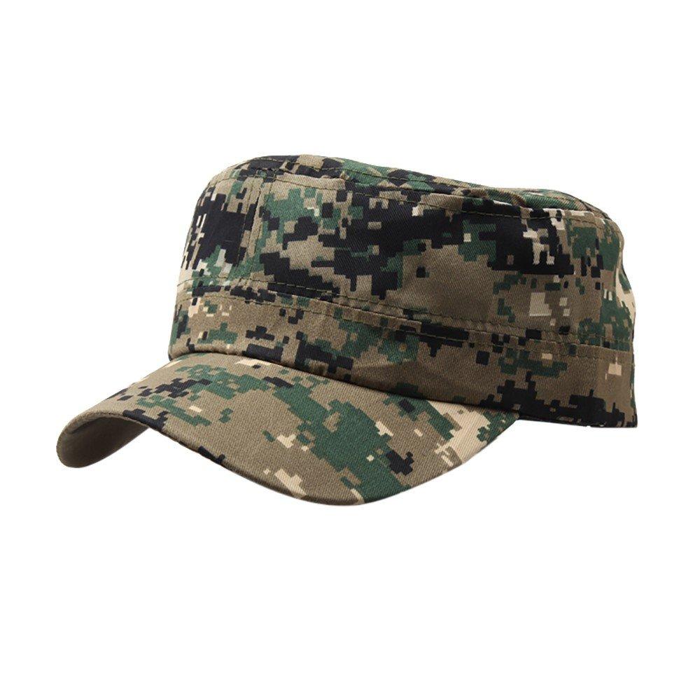 Mecohe Retro Tetto Piano Cappello Militare Camo Esterno Cadetto Patrol Cappello Regolabile Vintage Berretto da Baseball Unisex (B)