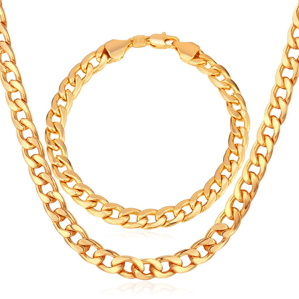 7MM Cuban Chain 18K Gold/Rose Gold/Platinum Plated Curb Chain Necklace & Link Bracelet Set U7 Jewelry U7 NH755K-18