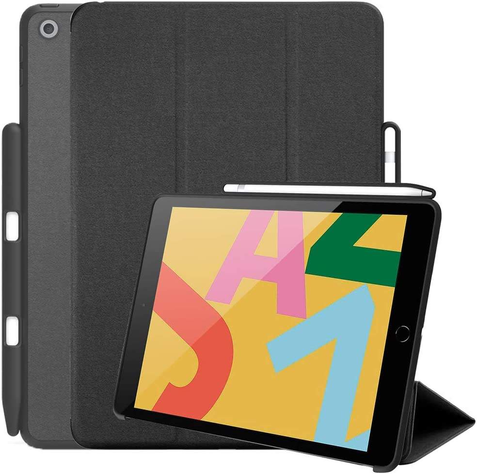 Maxace New iPad 10.2 Case with Pencil Holder, Premium Shockproof Case with Soft TPU Back Cover, Auto Sleep/Wake Function for Apple iPad 7th Generation 10.2 Inch 2020 - Black