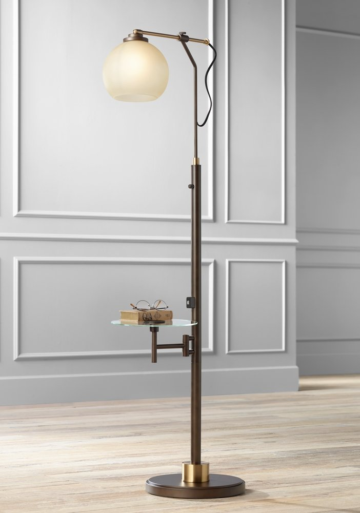 Jobe Industrial Floor Lamp with Tray Table and USB Port - - Amazon.com