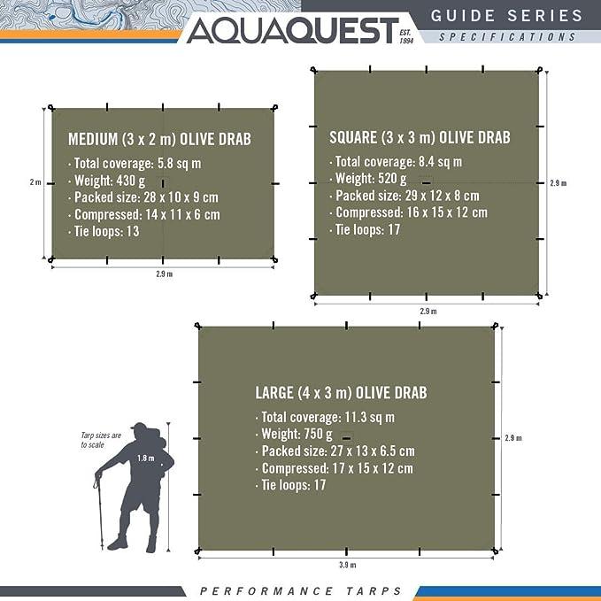 Ultraligero Ideal para Hamaca Impermeable Aqua Quest Guide Toldo Cuadrado 3 x 3 m Refugio de Lluvia para Mochileros de Ripstop Nylon de Silicona