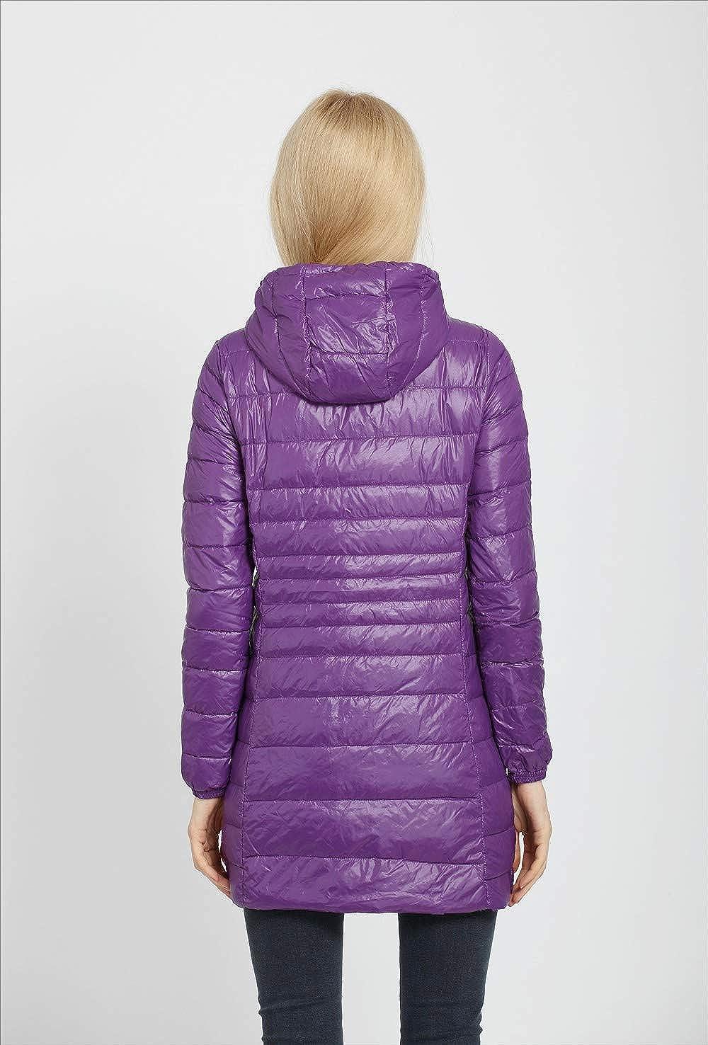 JJZXX Blouson Femme Léger Doudoune Veste, Hooded Down Jacket à Capuche Manteau, Coupe-Vent, 12 Couleur XXS-5XL Violet