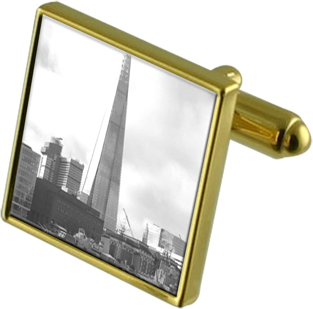 Select Gifts London Shard Tower Gold-Tone Cufflinks in Pouch