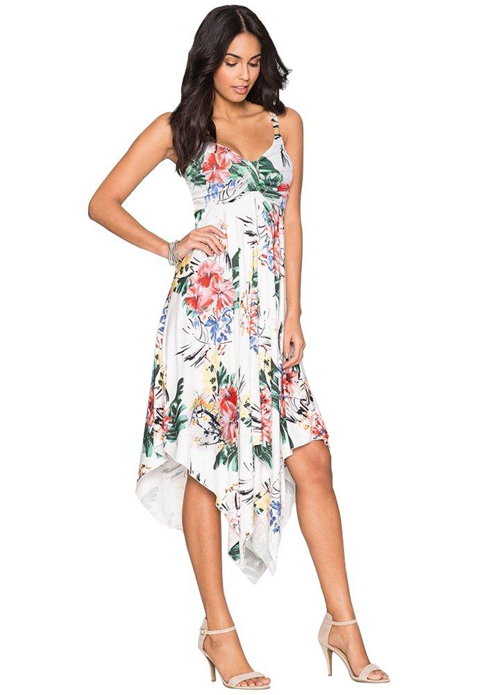 Womens Casual Summer Empire Waist Midi Floral Dresses Asymmetrical Sleeveless Basic White Dress M