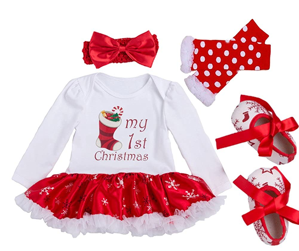 MXCZ Baby-Girls Long Sleeved Dress Cotton Christmas Suit(4pcs) Weiyun Trading Co. Ltd