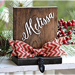 Personalized Christmas Stocking Holder For Mantle Or Fireplace, Rustic Stocking Holder