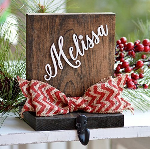 personalized christmas stocking holder for mantle or fireplace rustic stocking holder