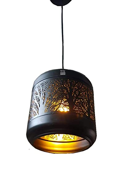 GreyWings Metal Laser Cutted Hanging Light Ceiling Pendant Lamp with Filament Bulb  Black  Pendant Lights
