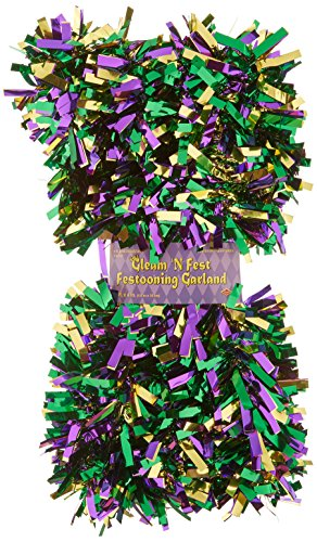 [6-Ply FR Gleam 'N Fest Festooning Garland (gold, green, purple) Party Accessory  (1 count)] (Mardi Gras Decorations)