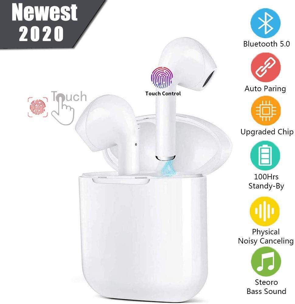 New I12 Auriculares Inalámbricos Bluetooth 5.0 Auriculares,Bluetooth Deportivos con Micrófono Cancelación de Ruido Cascos Caja de Carga, IPX5 a Prueba de Sudor, Emparejamiento automático
