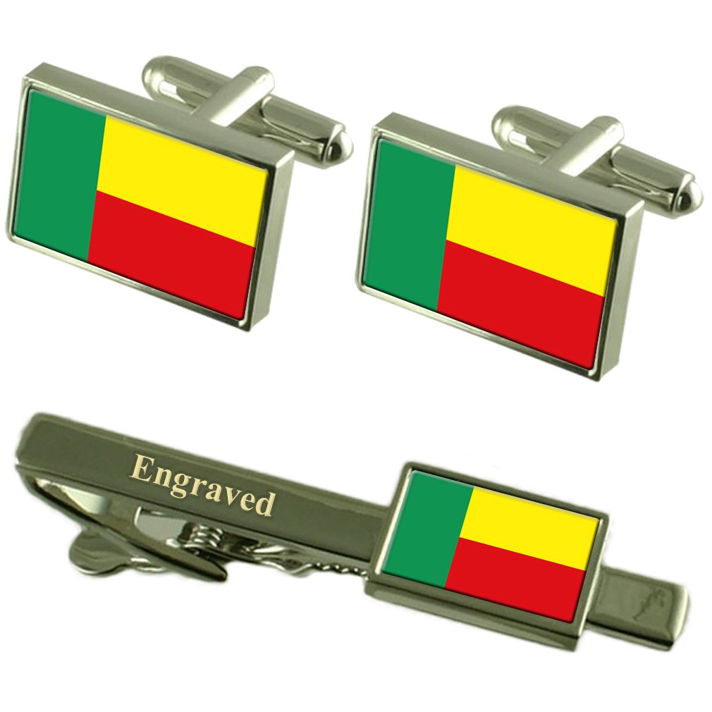 Select Gifts Benin Flag Cufflinks Engraved Tie Clip Matching Box Set