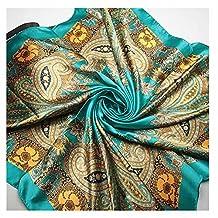 GOOTRADES Women's Big Square Scarf Imitated Silk Satin Kerchief Headcloth 90x90cm (D)