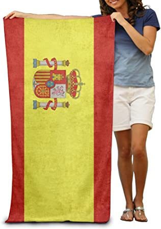Yissalvavunaz - Toallas de playa con diseño de bandera de España, 100 % poliéster, toalla grande para