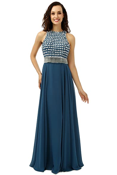 Butalways Womens Cyan Long Prom Dress Cheap Evening Dress Elegant Party Dress ...