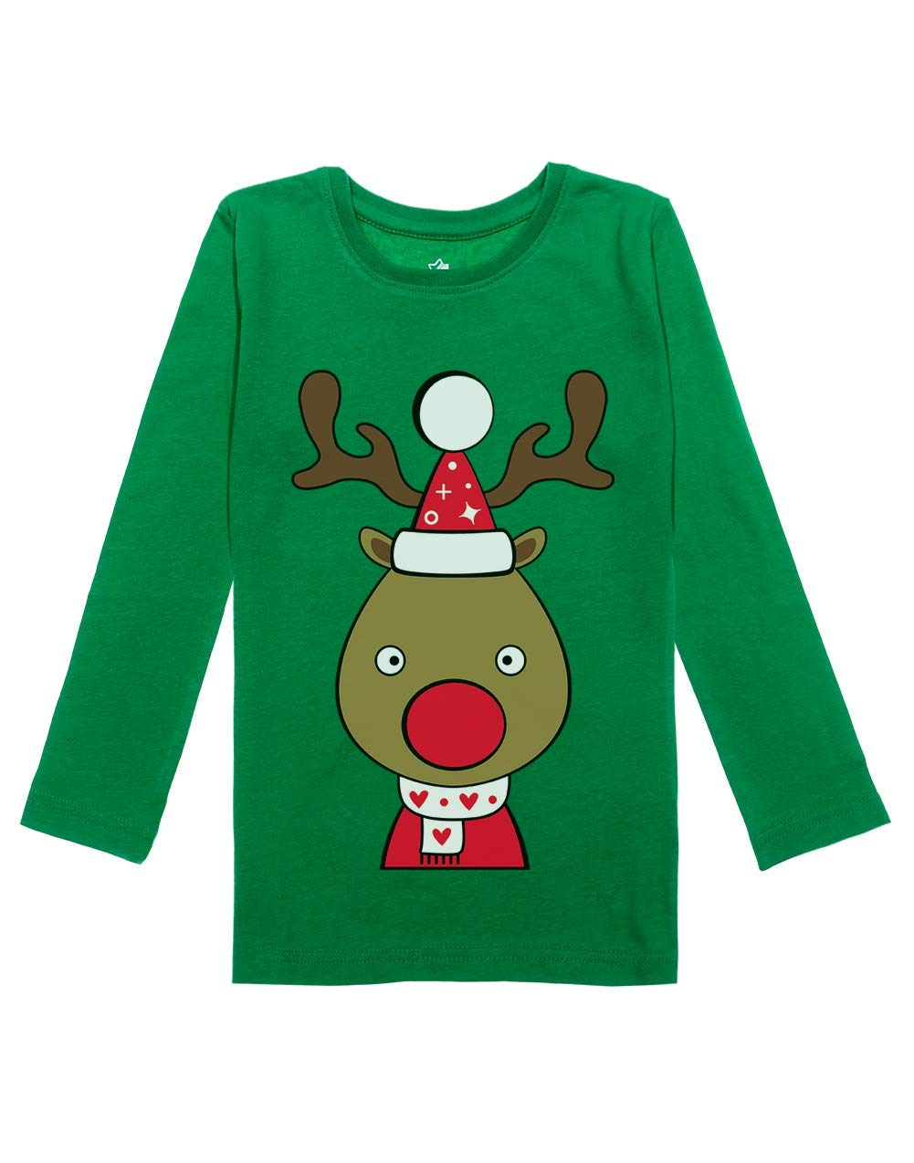 Cute Reindeer Outfit for Christmas Toddler Girls Fitted Long Sleeve T-Shirt