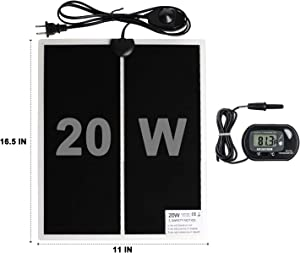 WUHOSTAM 20W 16.53 Inch x 11 Inch Reptile Heating Pad with 1-PCS Digital-Thermometer,Power Adjustment Under Tank Terrarium Heater Heat Mat for Pets, Small Animals