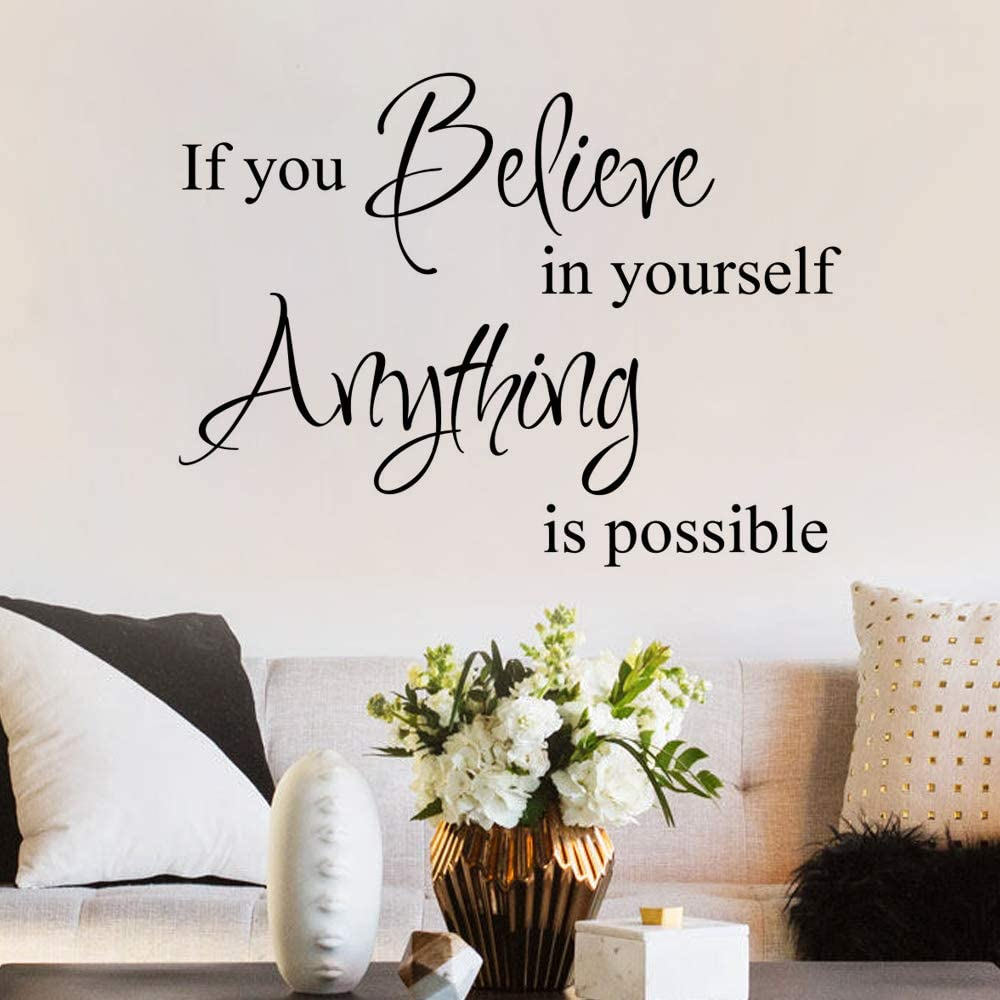 MoharWall Inspirational Quotes Decal if You Believe in Yourself Anything is Possible Wall Art Vinyl Sticker Bedroom Living Room Corridor Kitchen Décor