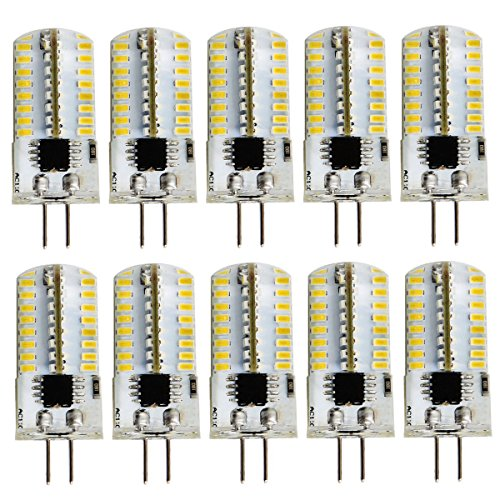 Pack 10,Mini G4 LED Bulb Dimmable 110V 120V 2.6W 280 Lumens 64pcs Silicone Lamp Equivalent to 20W Halogen Bulb Replacement (Warm White2700K-3200K)