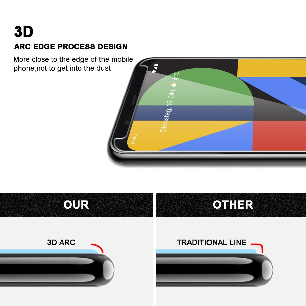 for Google Pixel 4 XL Screen Protector Tempered Glass HD Clarity Touch Accurate Easy Installation Tray 3Pack TOCOL 9H Hardness