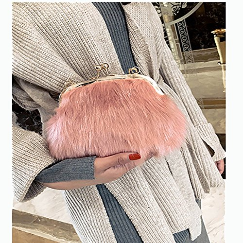 Chain Crossbody Pink Lock Faux Fur Bags Fashion Kiss Mini Fluffy Purse Shoulder Handbags Women Soft Feather xBwW4qOSP