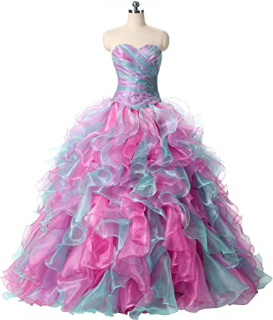 Rainbow Ball Gown Long Prom Dress
