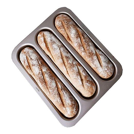 Baguette Bandeja para hornear (para 3 baguettes) Molde para pan de pan de estilo francés perforado, antiadherente, molde para hornear pan, 38 x 33 cm, ...