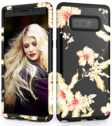Adcoog Samsung Galaxy Note 8 Case, [Flower] Three Layers Heavy Duty Case for Girls/Women Hybrid Protective Floral Case for for Samsung Note 8 (Black+Morning Glory)